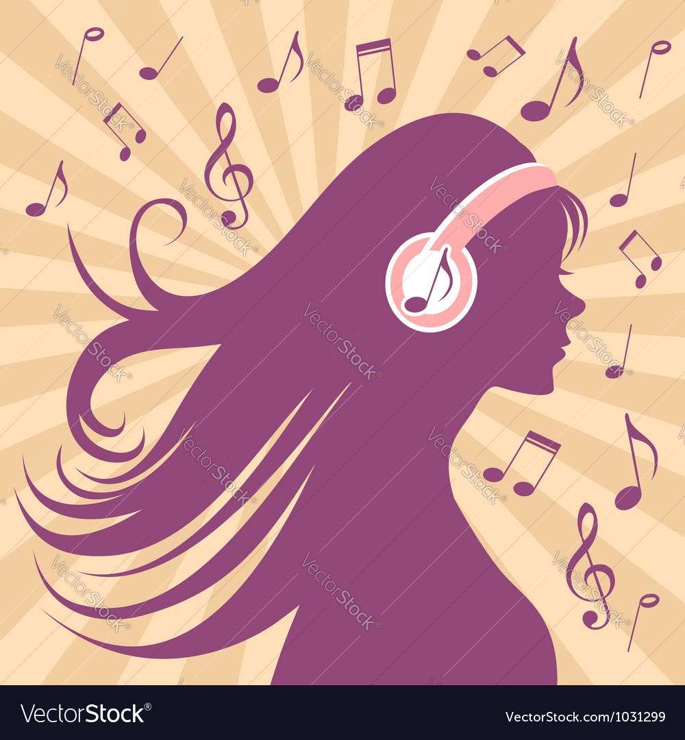 Girl silhouette with headphones vector | Price: 1 Credit (USD $1)
