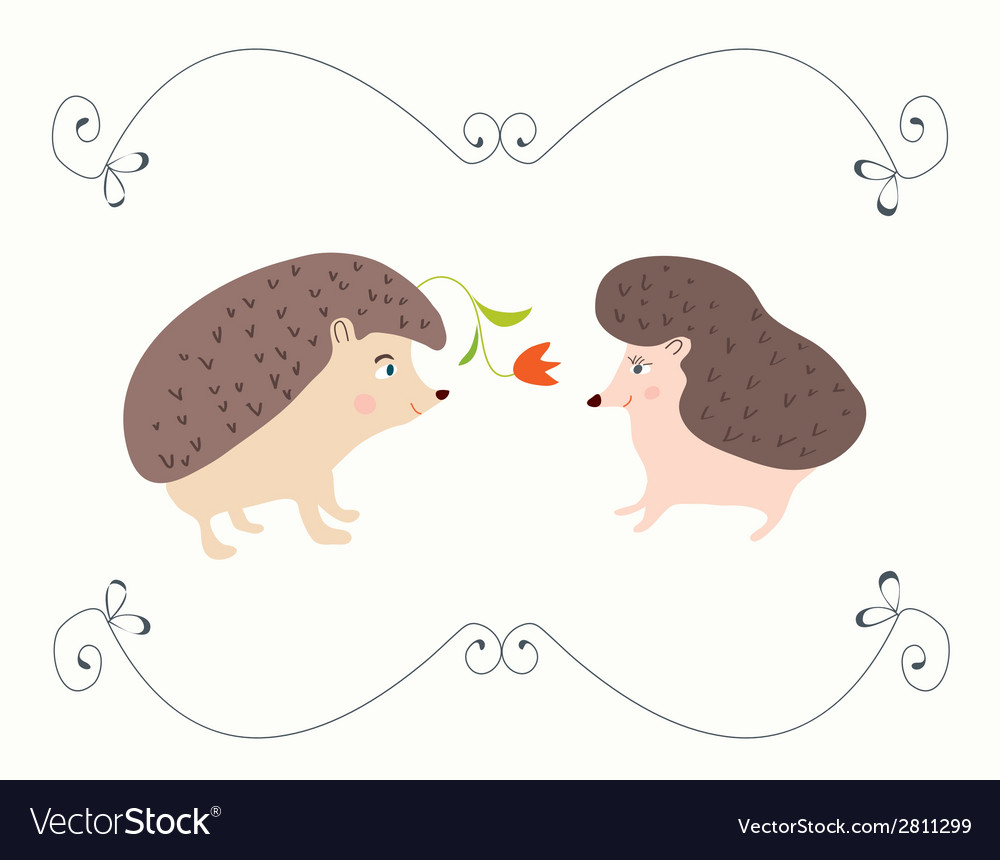 Love valentine card with hedgehogs - cute design vector | Price: 1 Credit (USD $1)