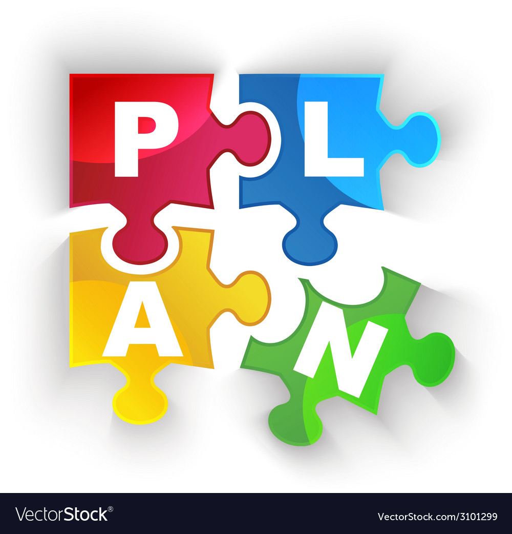 Plan puzzle pieces with shadow vector | Price: 1 Credit (USD $1)
