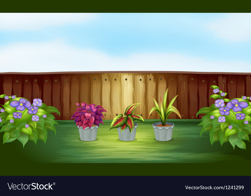 Pot of plants inside the high fence vector | Price: 1 Credit (USD $1)