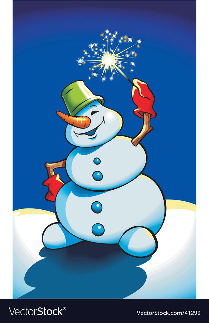 Snowman holding sparkler vector | Price: 1 Credit (USD $1)