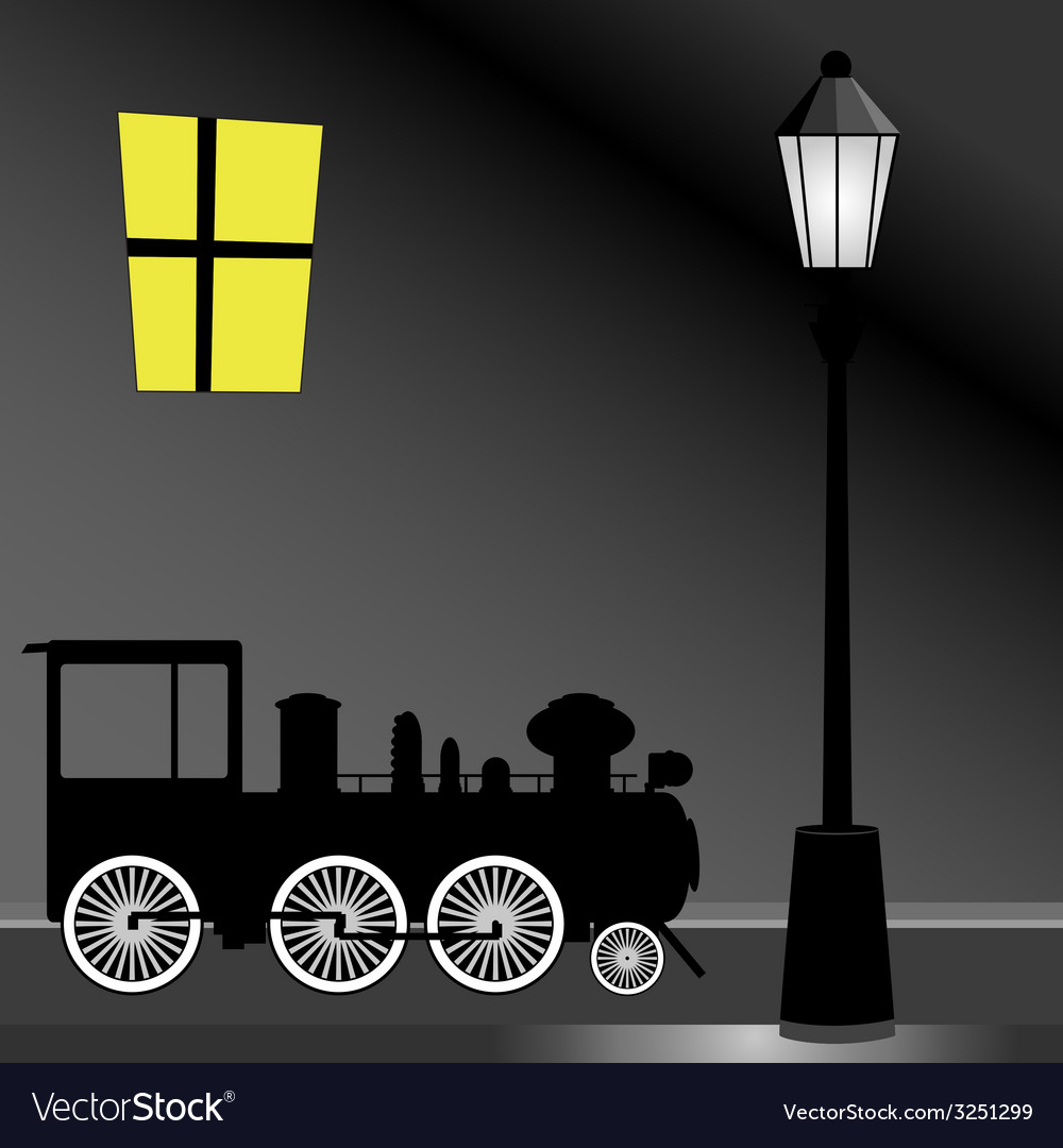 Tram with street light color vector | Price: 1 Credit (USD $1)