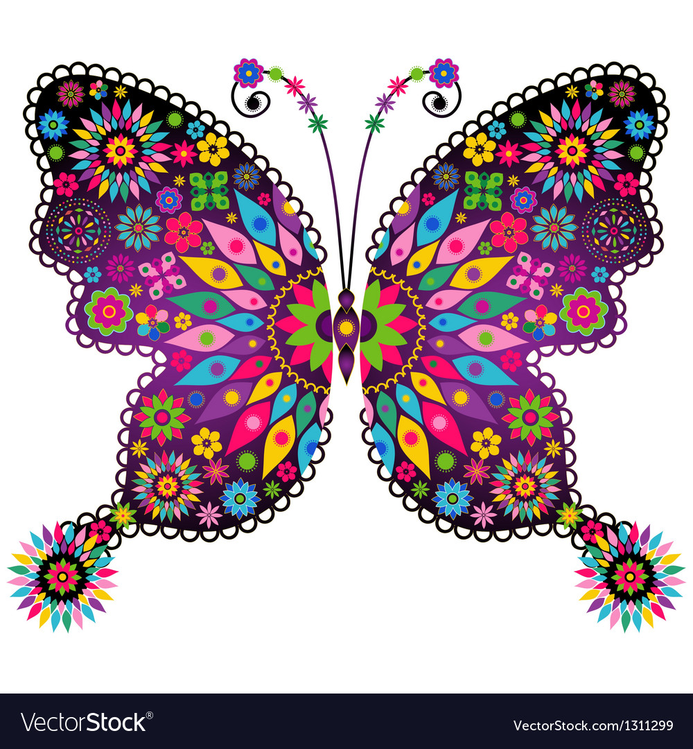 Vivid colorful butterfly vector | Price: 1 Credit (USD $1)