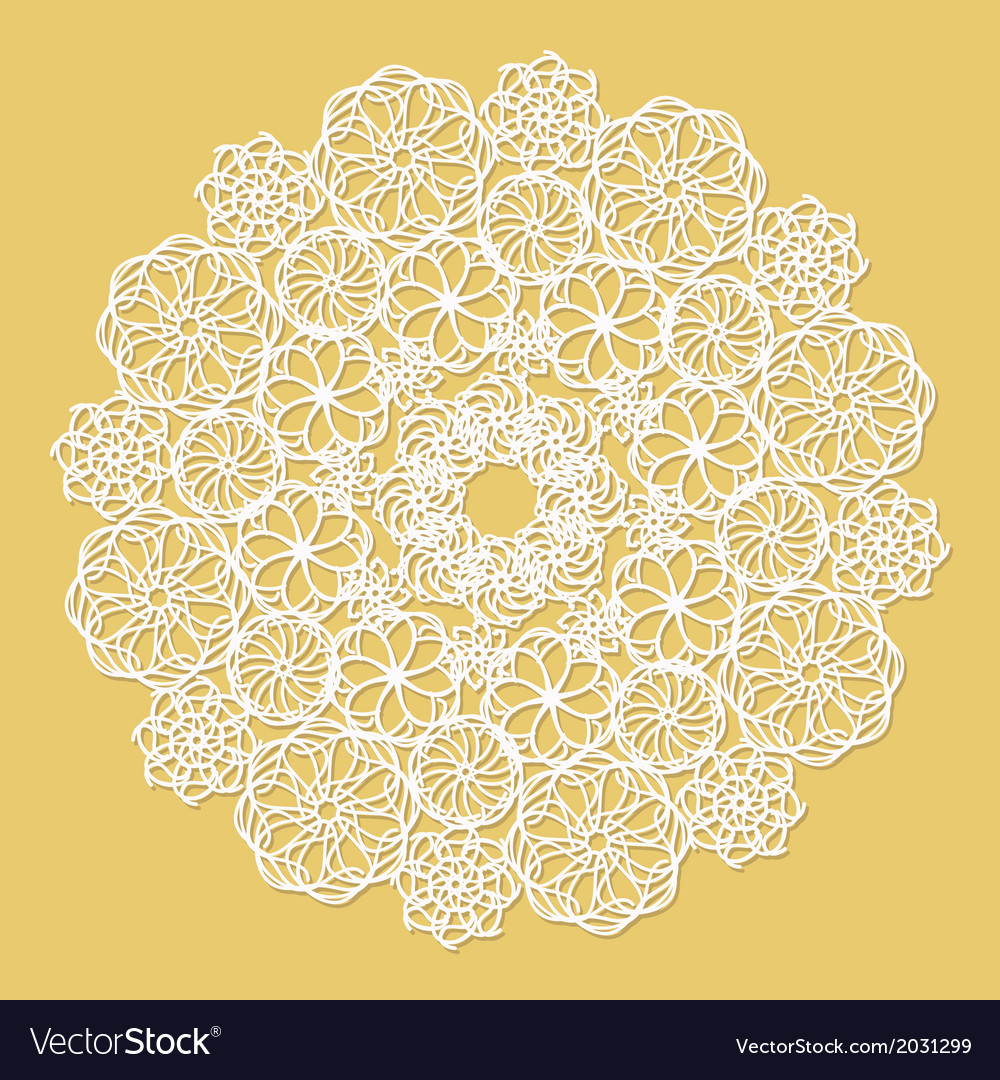 White lace serviette on yellow background vector | Price: 1 Credit (USD $1)
