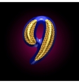 Golden and blue letter 9 vector