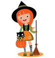 Little witch and her cat on halloween vector