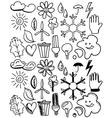 Set of black isolated environmental hand drawn vector