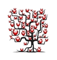 Love tree wih red hearts for your design vector