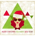 Merry christmas background in hipster style vector