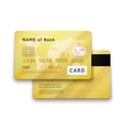 Set of detailed glossy gold credit card with two vector