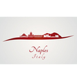 Naples skyline in red vector