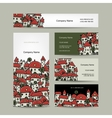 Business cards design cityscape sketch vector