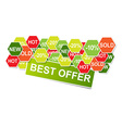 Stick best offer banner with discount signs vector