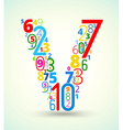 Letter v colored font from numbers vector