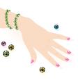 Green emerald bracelet on woman hand vector