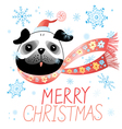Christmas card with pug vector