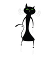 Funny cute black cat vector
