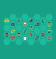 Collection colorful flat medical icons - vector