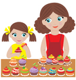 Mother and daughter bake cupcakes vector