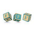 Letter f wooden alphabet blocks vector