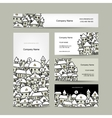 Business cards design winter cityscape sketch vector