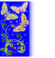 Background with butterflies and ornaments vector