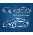 Concept car technical drawing vector