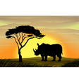 Rhinoceros under a tree vector