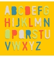 Handmade color paper crafting alphabets vector