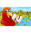 A parrot near the pond showing an empty book vector