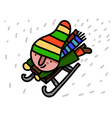 Winter child riding sleigh vector
