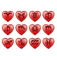 Set stylish zodiac signs in the shape heart vector