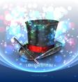 Magician top hat with magic particles vector