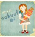 Back to school vintage card vector