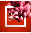 Happy mothers day label with flying balloon hear vector