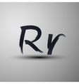 Calligraphic hand-drawn marker or ink letter r vector
