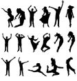 Dance many people silhouette illustration vector