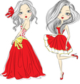 Set beautiful fashion girls in red dressed vector
