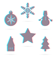 Six winter holiday anagliph flat icon vector