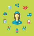 Set trendy medical icons in flat style - vector