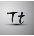 Calligraphic hand-drawn marker or ink letter t vector