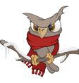 Owl in the winter cartoon vector