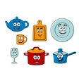 Collection of cartoon kitchenware vector