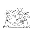 Girl in a hammock doodle vector