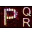 Neon light alphabet - pqr vector