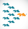 Image of an goldfish showing leader individuality vector