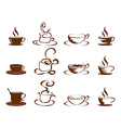 Coffee cups icon set vector