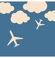 Abstract background with airplanes and clouds vector