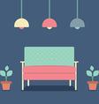 Flat design interior vintage sofa vector
