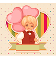 Happy birthday card with boy and balloons vector